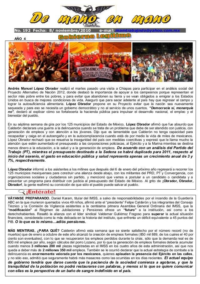 No. 192 Fecha: 8/ noviembre/2010 e-mail: mamtrabajndo@yahoo.com.mx AÑO 4 ◄ Ant Siguiente► El c