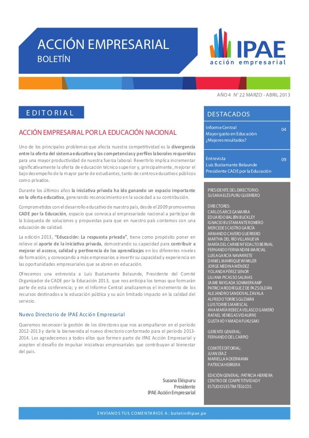 IPAE ACCIÓN EMPRESARIAL Centro de Competitividad y Estudios Estratégicos de IPAE. Ca. Víctor Maúrtua 135 - Lima 27. Tlf. (...