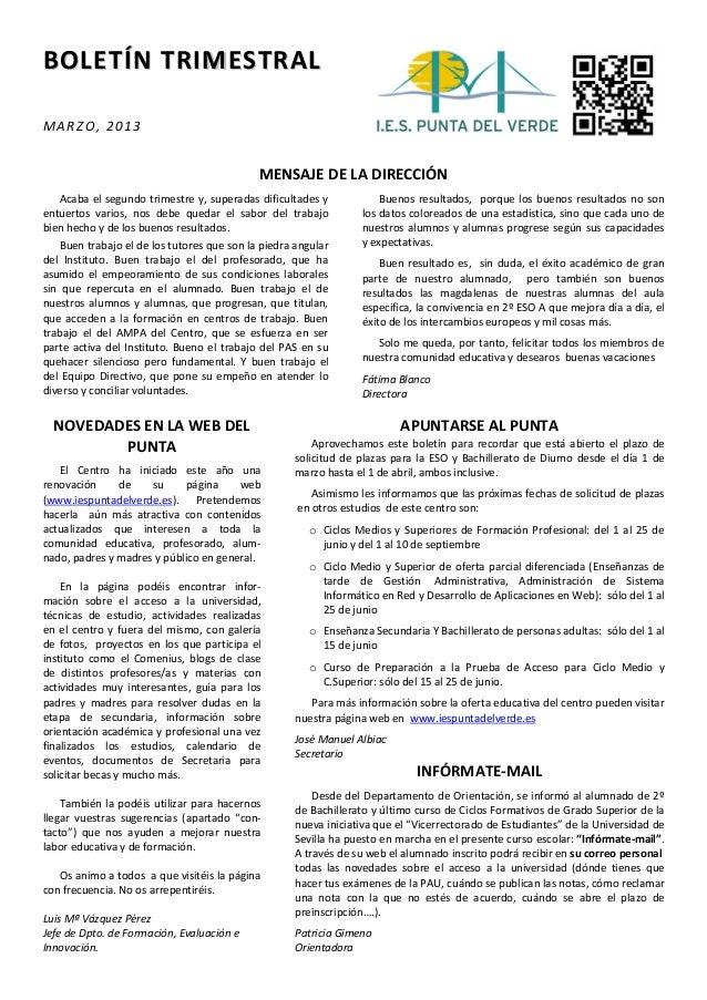 BOLETÍN TRIMESTRALMARZO, 2013                                             MENSAJE DE LA DIRECCIÓN   Acaba el segundo trime...