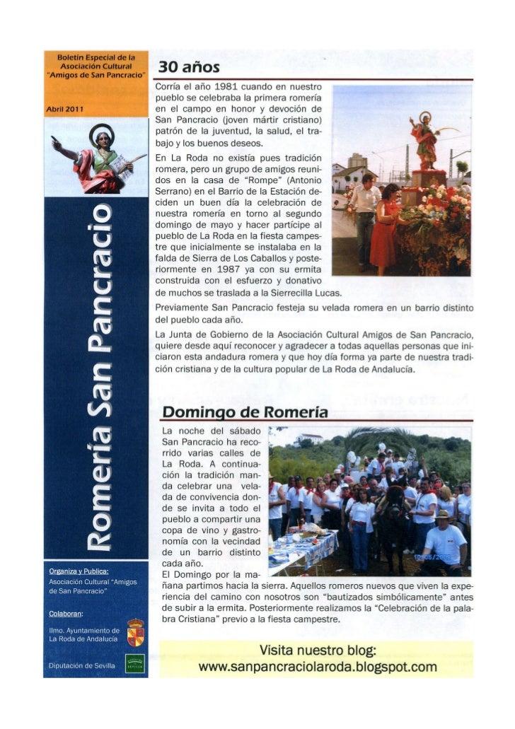 Boletin 30 años de San Pancracio