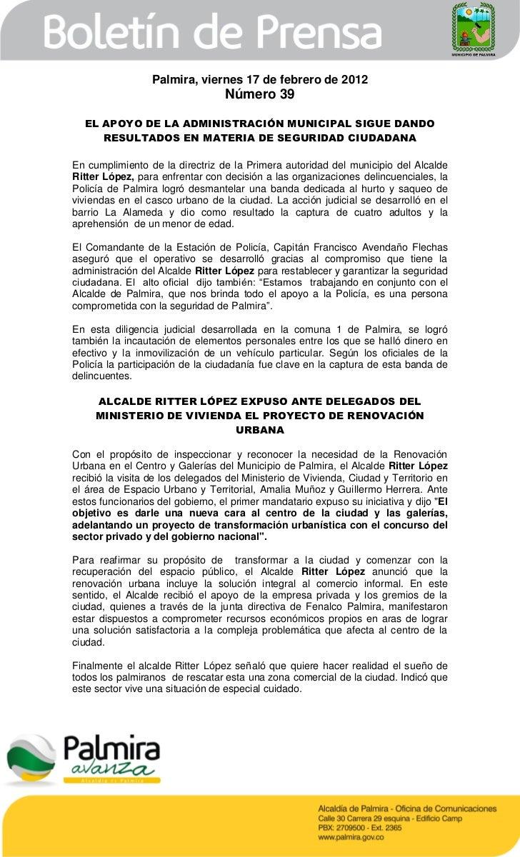 Palmira, viernes 17 de febrero de 2012                                  Número 39  EL APOYO DE LA ADMINISTRACIÓN MUNICIPAL...