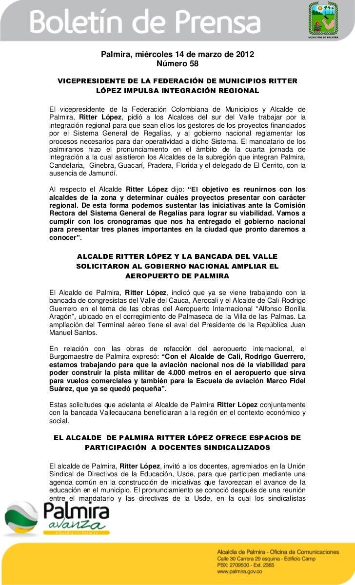 Palmira, miércoles 14 de marzo de 2012                              Número 58  VICEPRESIDENTE DE LA FEDERACIÓN DE MUNICIPI...