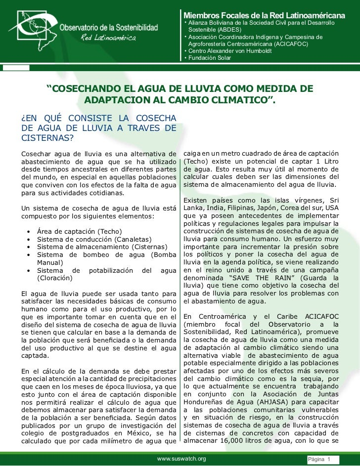 COSECHANDO EL AGUA DE LLUVIA COMO MEDIDA DE ADAPTACION AL CAMBIO CLIMATICO