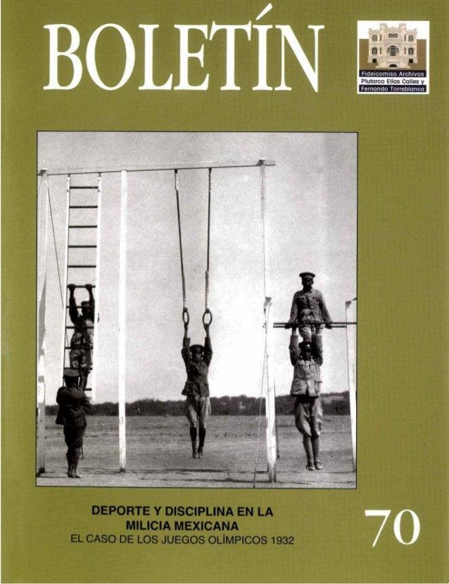 Deporte y disciplina en la milicia mexicana. El caso de los JJOO 1932