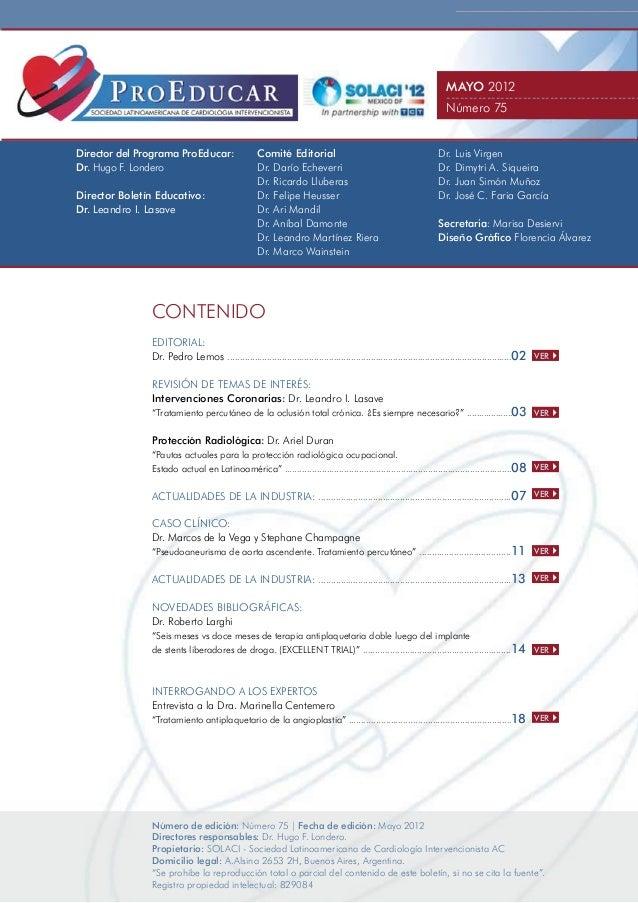 Boletin 75, Mayo 2012 - Programa Educativo PROEDUCAR SOLACI