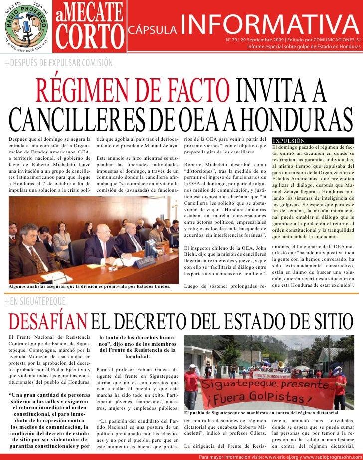 CÁPSULA                     INFORMATIVA         N° 79 | 29 Septiembre 2009 | Editado por COMUNICACIONES-SJ                ...