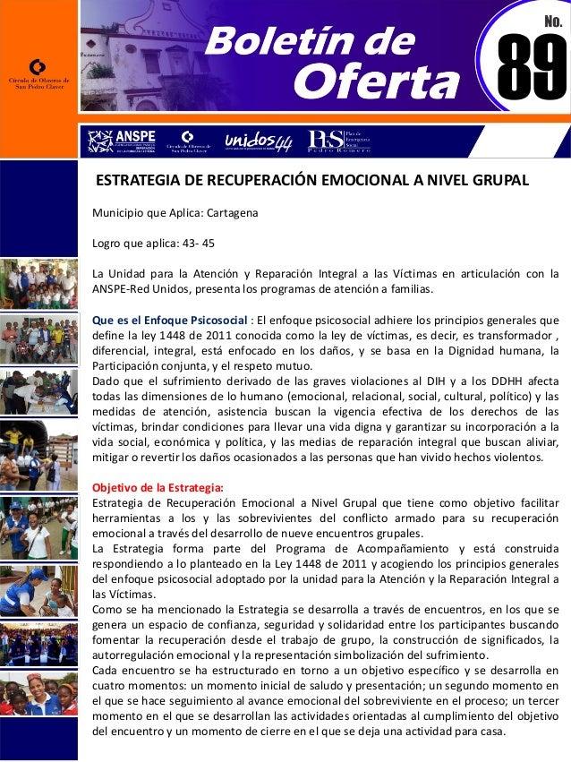 ESTRATEGIA DE RECUPERACIÓN EMOCIONAL A NIVEL GRUPAL Municipio que Aplica: Cartagena Logro que aplica: 43- 45 La Unidad par...