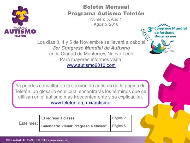 Boletín Mensual                              Programa Autismo Teletón                                          Número 5, A...