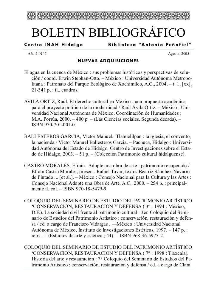 """BOLETIN BIBLIOGRÁFICO Centro INAH Hidalgo                       B i b l i o t e c a """"A n t o n i o Pe ñ a f i e l """"  Año 2..."""