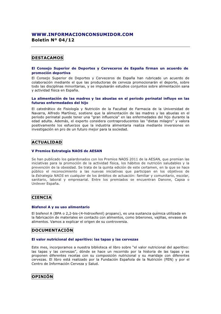 Información Consumidor_Boletín abril 2012