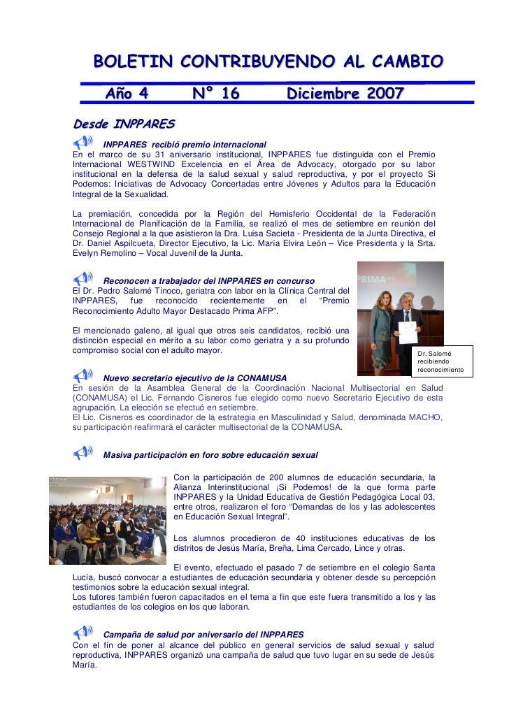 BOLETIN CONTRIBUYENDO AL CAMBIO         Año 4                  N° 16                     Diciembre 2007 Desde INPPARES    ...
