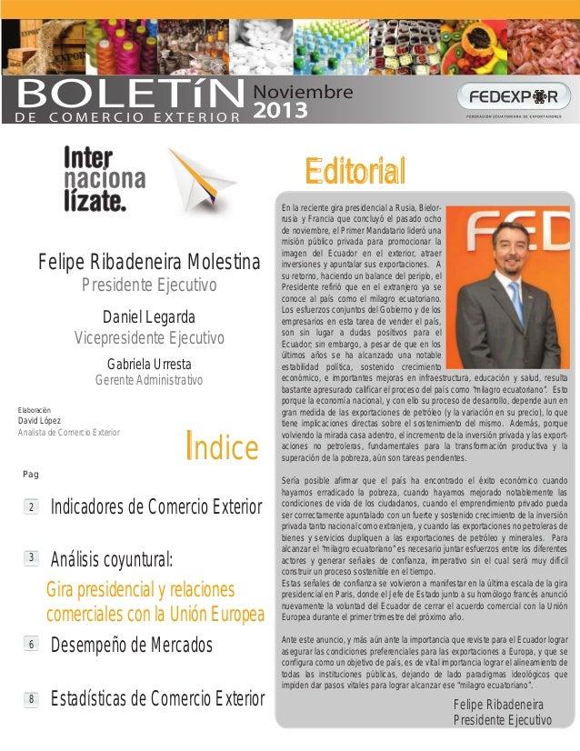 Informativo mensual de comercio exterior Fedexpor Noviembre del 2013