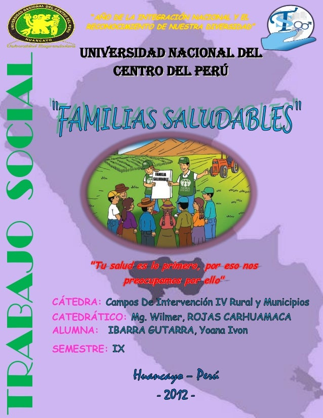 UNIVERSIDAD NACIONAL DEL CENTRO DEL PERU                              FACULTAD DE TRABAJO SOCIAL                     UNIVE...
