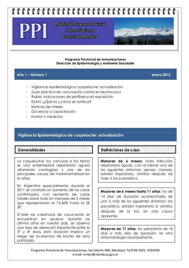 Programa Provincial de Inmunizaciones                         Dirección de Epidemiología y Ambiente SaludableAño 1 – Númer...
