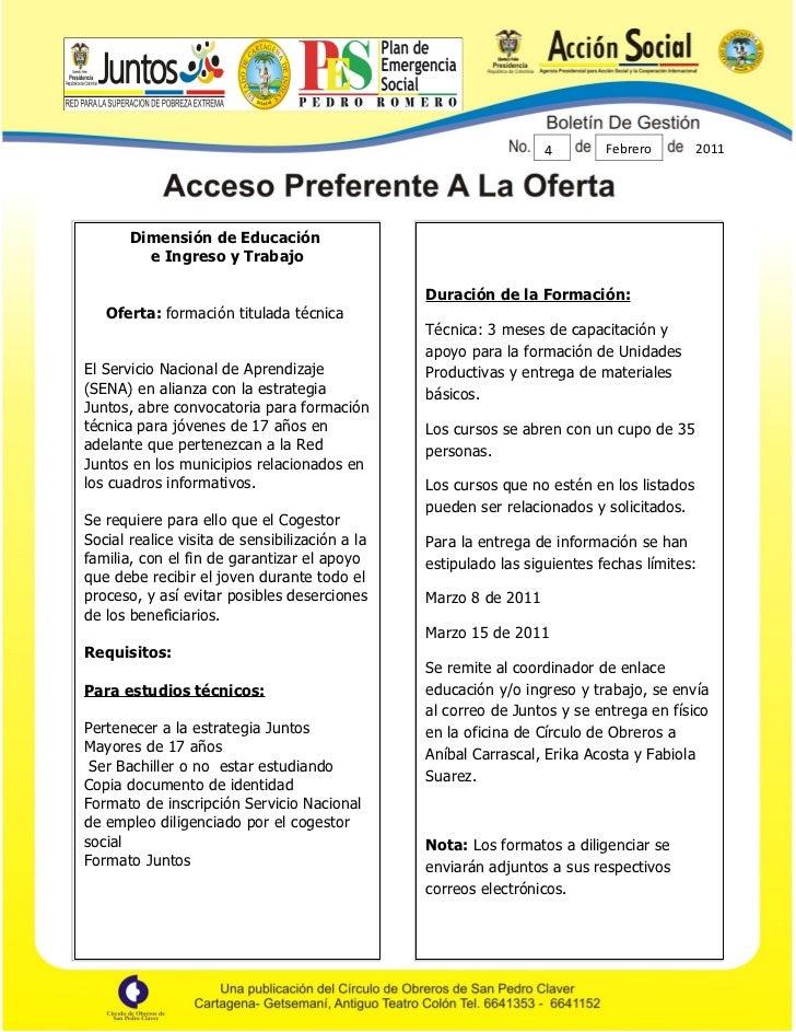 4        Febrero        2011       Dimensión de Educación         e Ingreso y Trabajo                                     ...