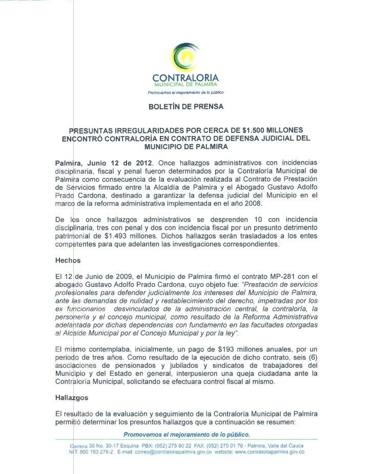 Boletin de prensa de la contraloria municipal de palmira n. 2