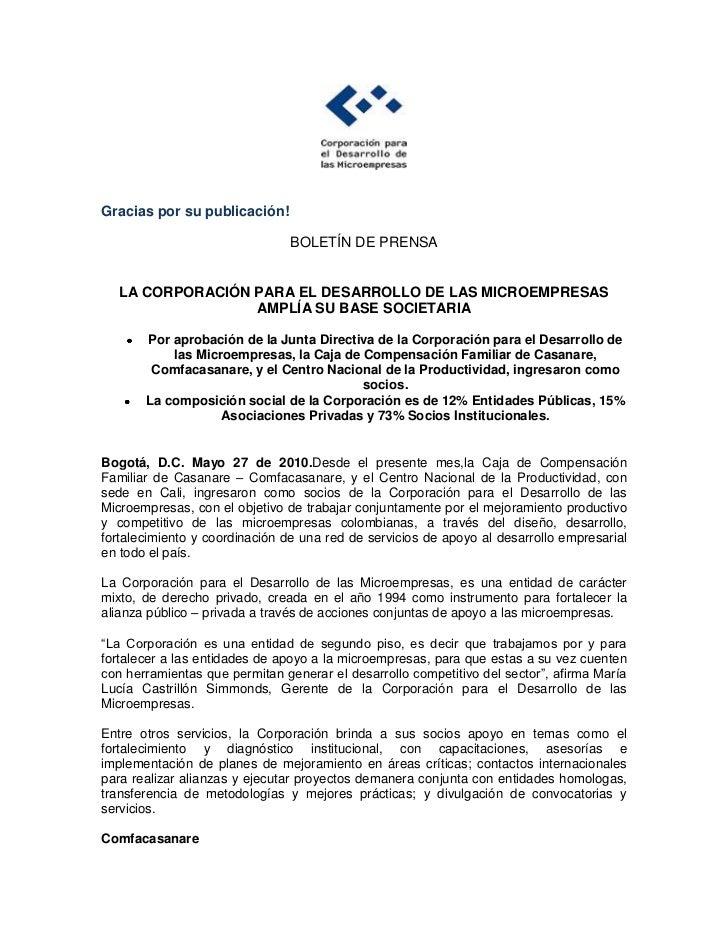 Boletin de prensa nuevos socios Corporación para el Desarrollo de las Microempresas