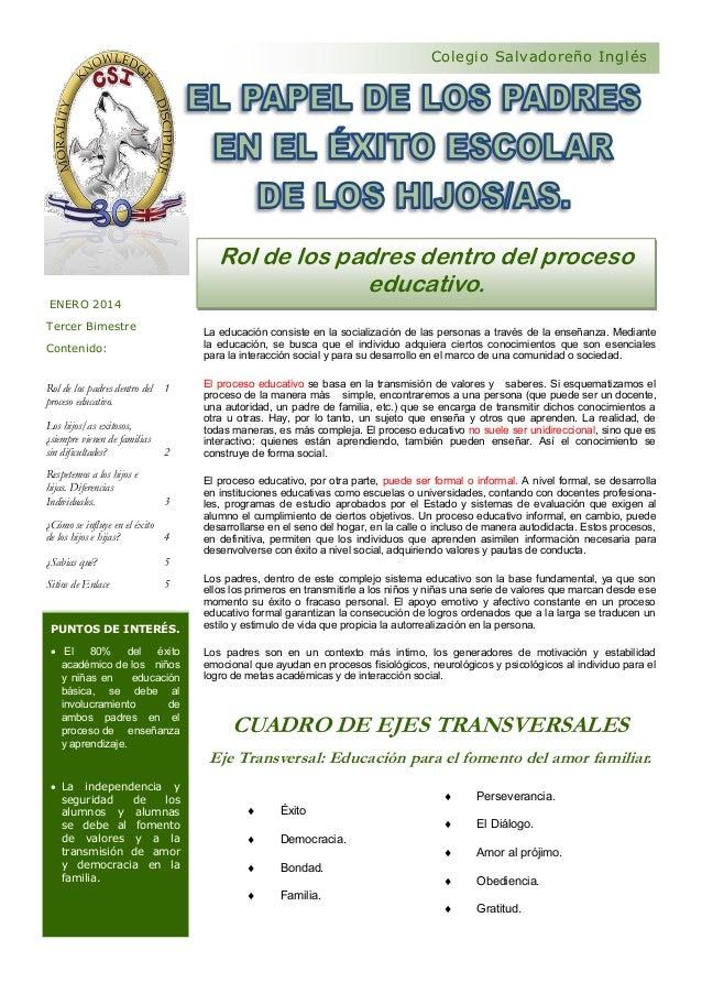 Colegio Salvadoreño Inglés  Rol de los padres dentro del proceso educativo. ENERO 2014 Tercer Bimestre  La educación consi...