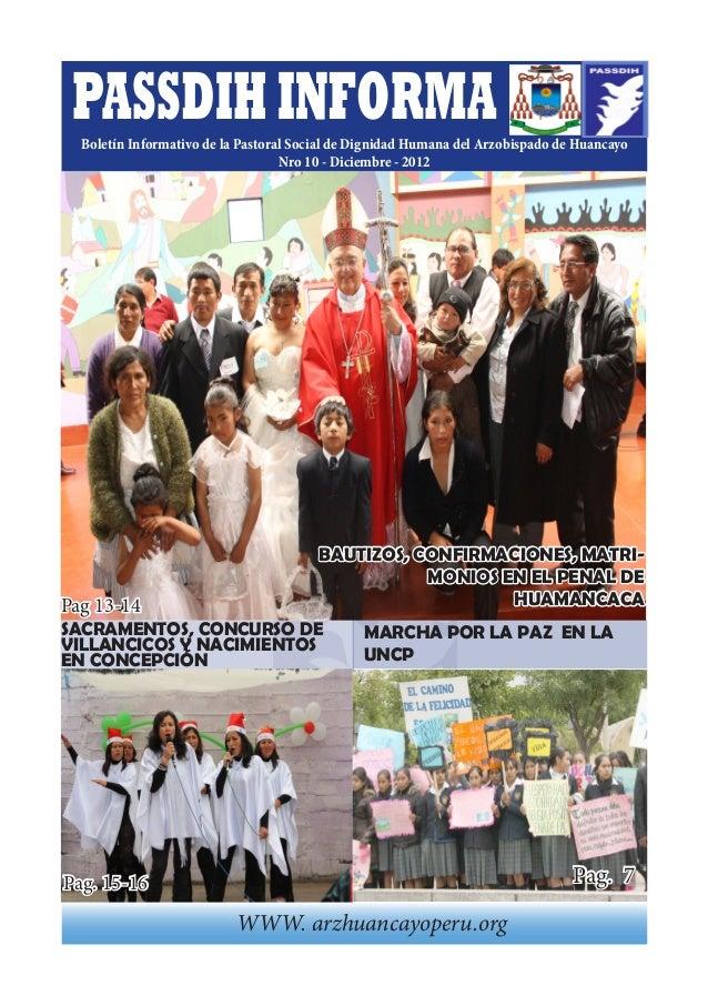 PASSDIH INFORMA  Boletín Informativo de la Pastoral Social de Dignidad Humana del Arzobispado de Huancayo                 ...