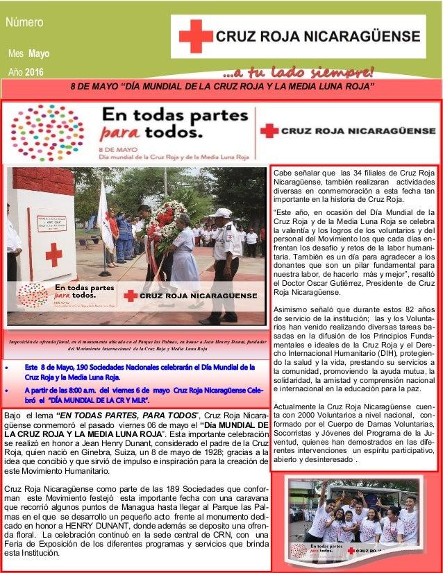 """Mes Mayo Año 2016 8 DE MAYO """"DÍA MUNDIAL DE LA CRUZ ROJA Y LA MEDIA LUNA ROJA"""" Imposición de ofrenda floral, en el monumen..."""