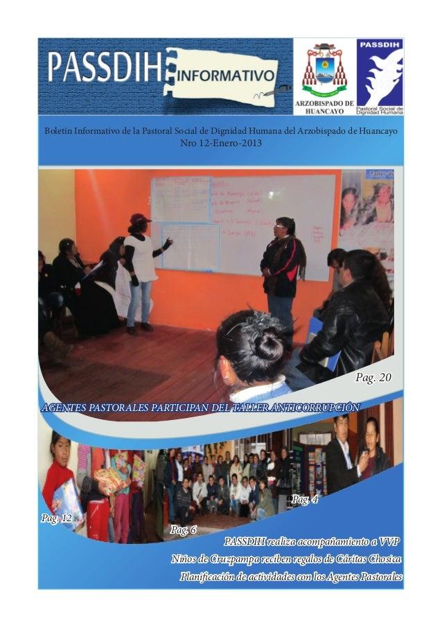 Boletín Informativo de la Pastoral Social de Dignidad Humana del Arzobispado de Huancayo                                 N...