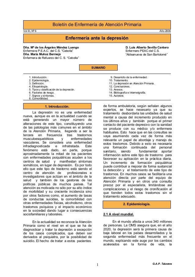 """G.A.P. Talavera11. Introducción.Vol III, Nº 6 Año 2006Dña. Mª de los Ángeles Méndez LuengoEnfermera P.E.A.C. del C.S. """"Ceb..."""
