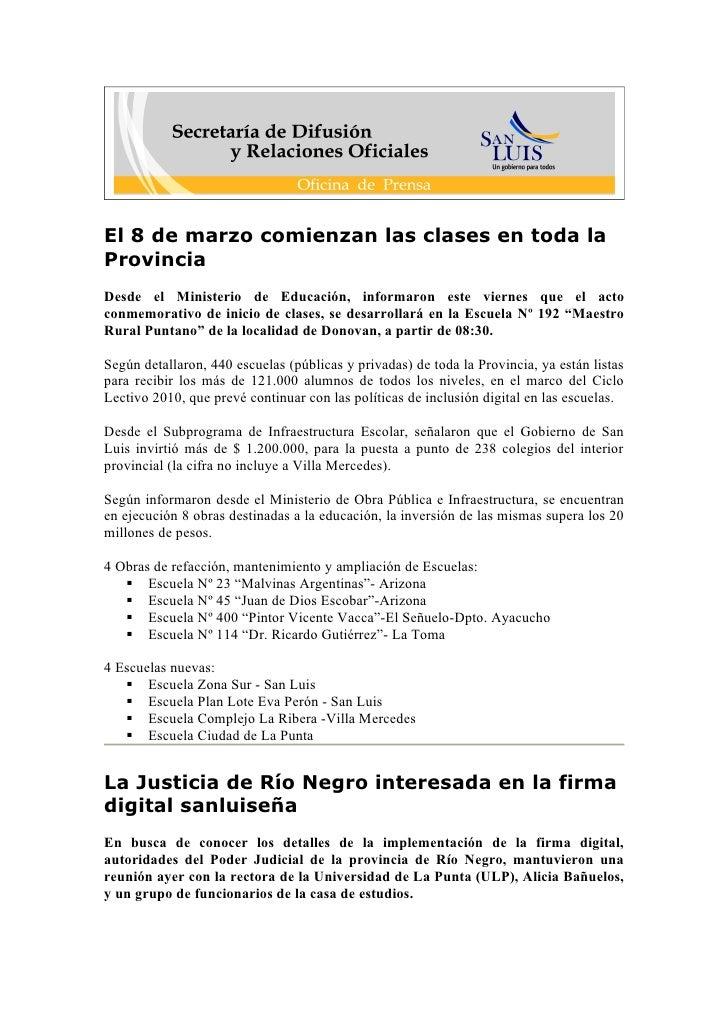 Boletin Informativo  05 03 10