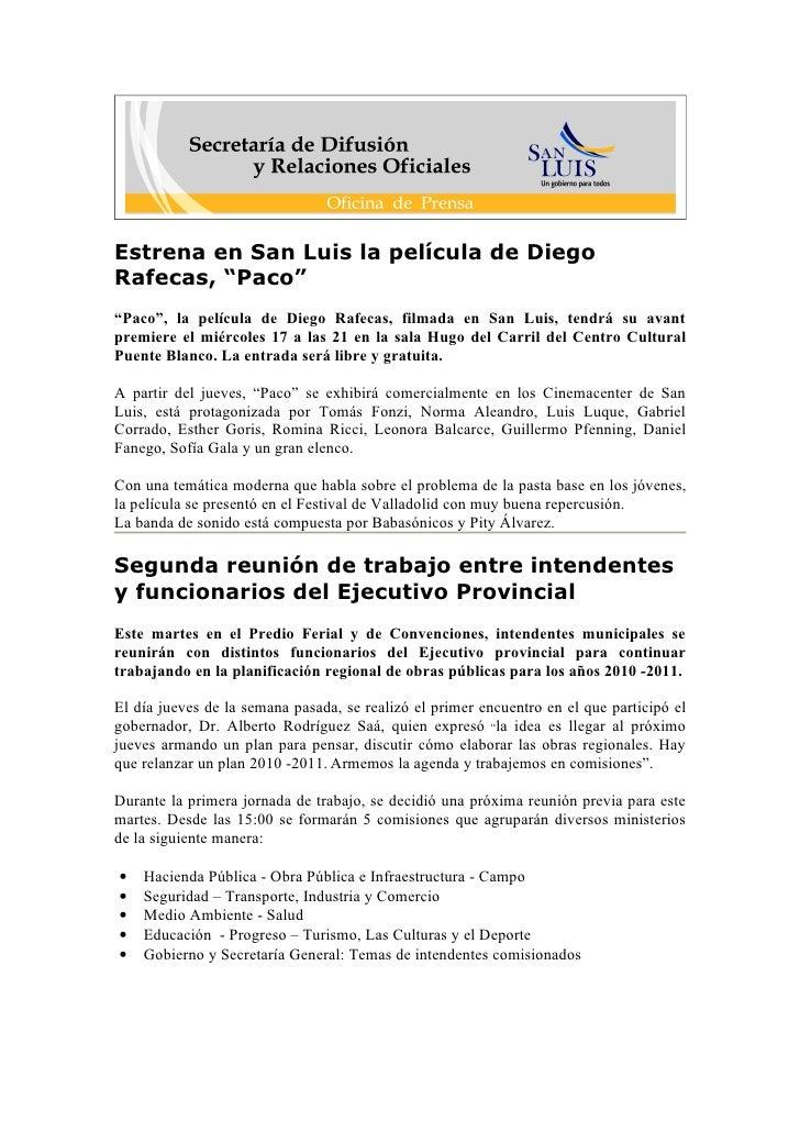 """Estrena en San Luis la película de Diego Rafecas, """"Paco"""" """"Paco"""", la película de Diego Rafecas, filmada en San Luis, tendrá..."""
