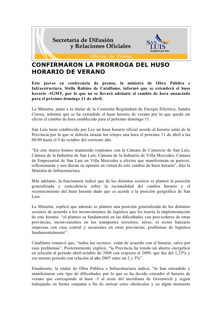 CONFIRMARON LA PRORROGA DEL HUSO HORARIO DE VERANO Este jueves en conferencia de prensa, la ministra de Obra Pública e Inf...