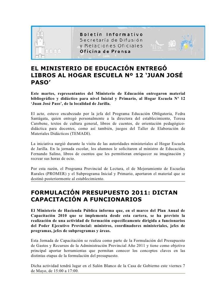 EL MINISTERIO DE EDUCACIÓN ENTREGÓ LIBROS AL HOGAR ESCUELA Nº 12 'JUAN JOSÉ PASO' Este martes, representantes del Minister...