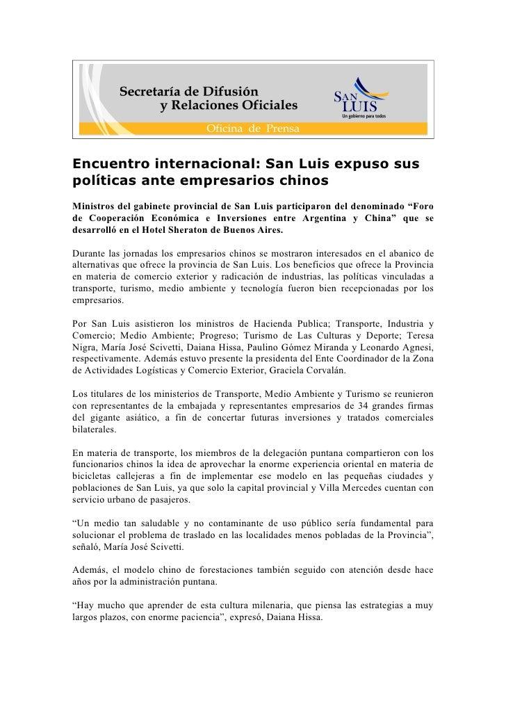 Encuentro internacional: San Luis expuso sus políticas ante empresarios chinos Ministros del gabinete provincial de San Lu...