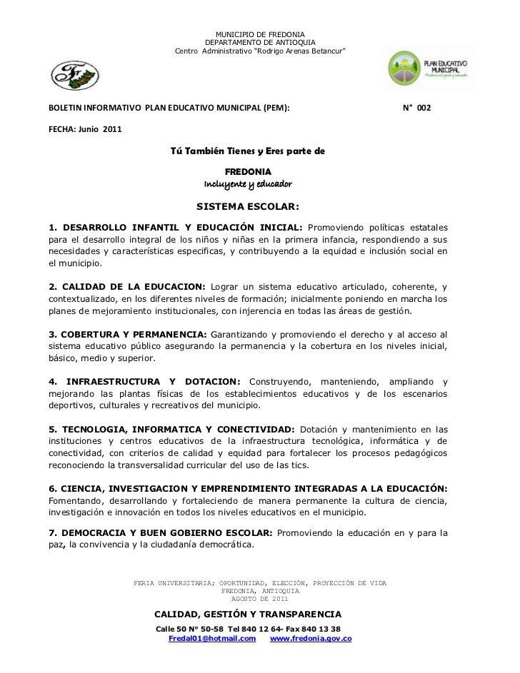 Boletin informativo plan educativo municipal no. 2