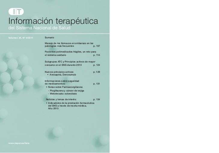 Información terapéuticadelSistemaNacionaldeSaludVolumen 35, Nº 4/2011   Sumario                        Manejo de los f...