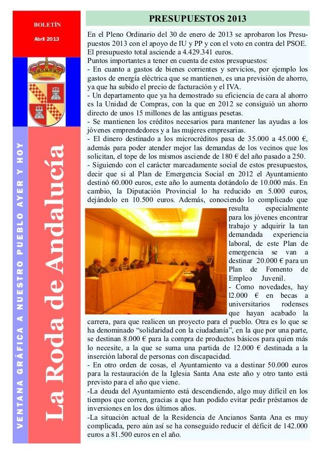 1LaRodadeAndalucíaVENTANAGRÁFICAANUESTROPUEBLOAYERYHOYPáginaAbril 2013PRESUPUESTOS 2013En el Pleno Ordinario del 30 de ene...