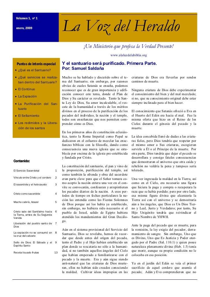 Volumen 1, nº 1  enero, 2009                            La Voz del Heraldo                                                ...