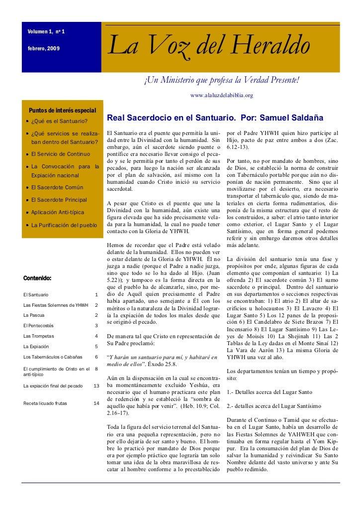 Volumen 1, nº 1  febrero, 2009                        La Voz del Heraldo                                                  ...