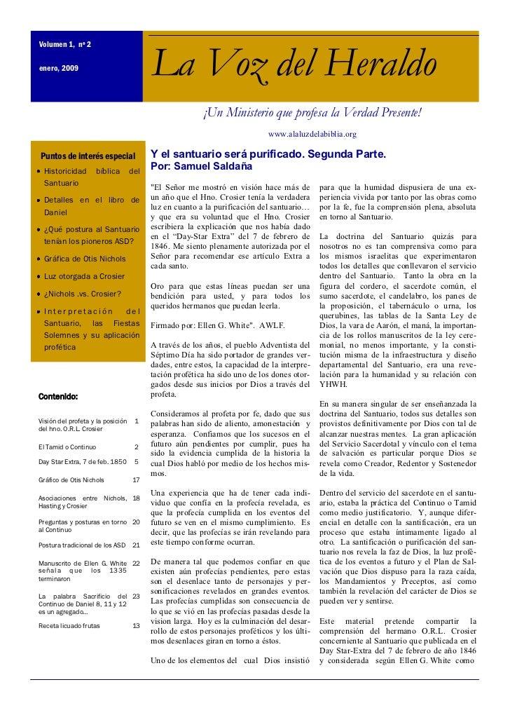 Volumen 1, nº 2enero, 2009                              La Voz del Heraldo                                                ...