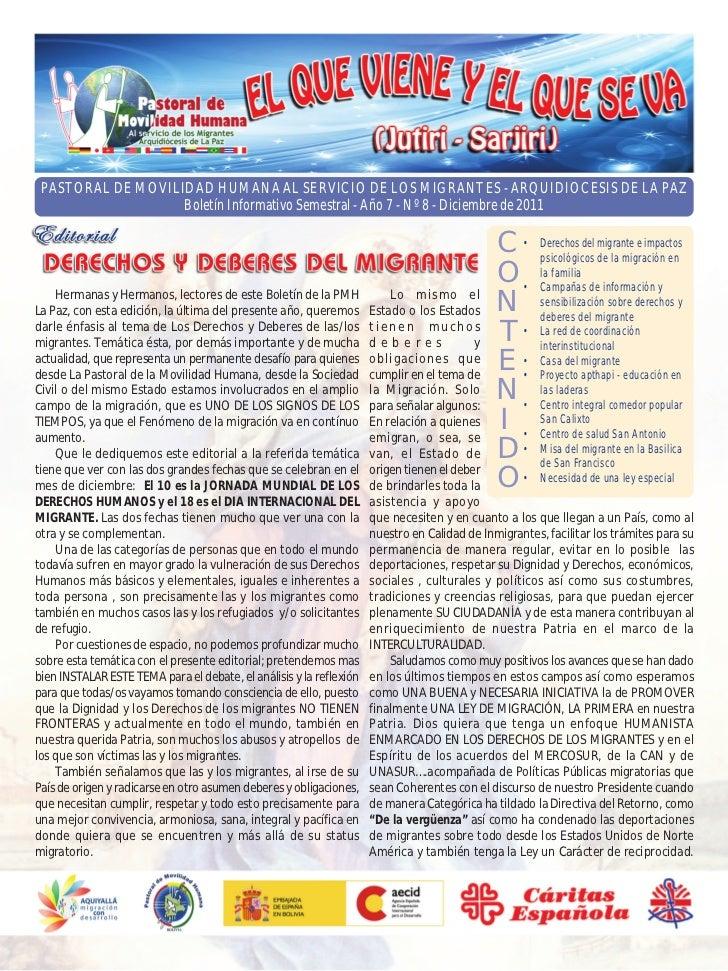 PASTORAL DE MOVILIDAD HUMANA AL SERVICIO DE LOS MIGRANTES - ARQUIDIOCESIS DE LA PAZ                   Boletín Informativo ...