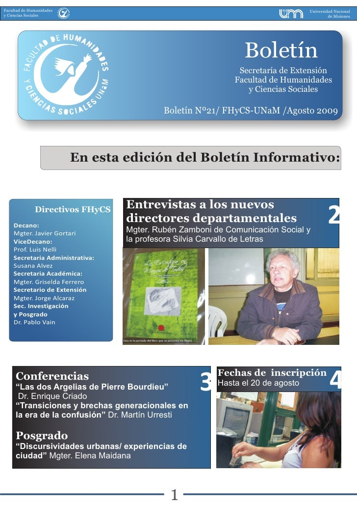 Boletin Nº21  Agosto 2009