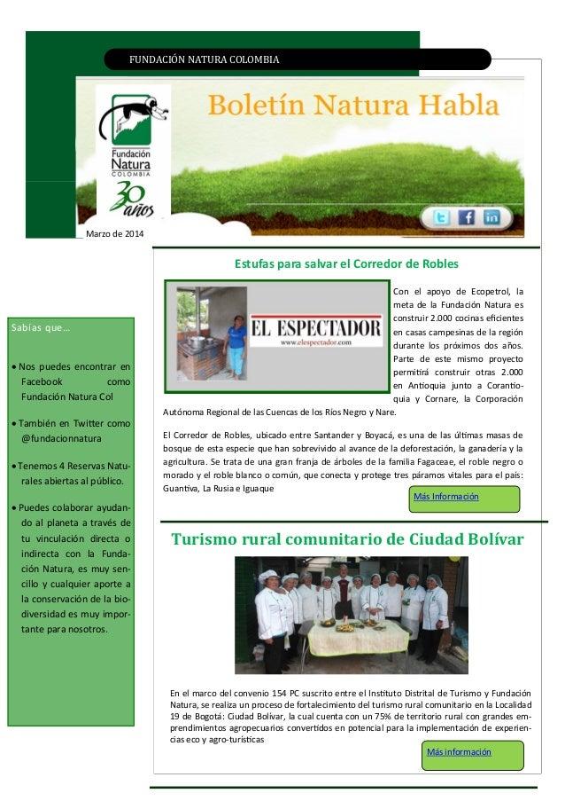 FUNDACIÓN NATURA CÓLÓMBIA Marzo de 2014 EJEMPLAR EN EL MEDIO AMBIENTE DEL PAÍSEstufas para salvar el Corredor de Robles Tu...