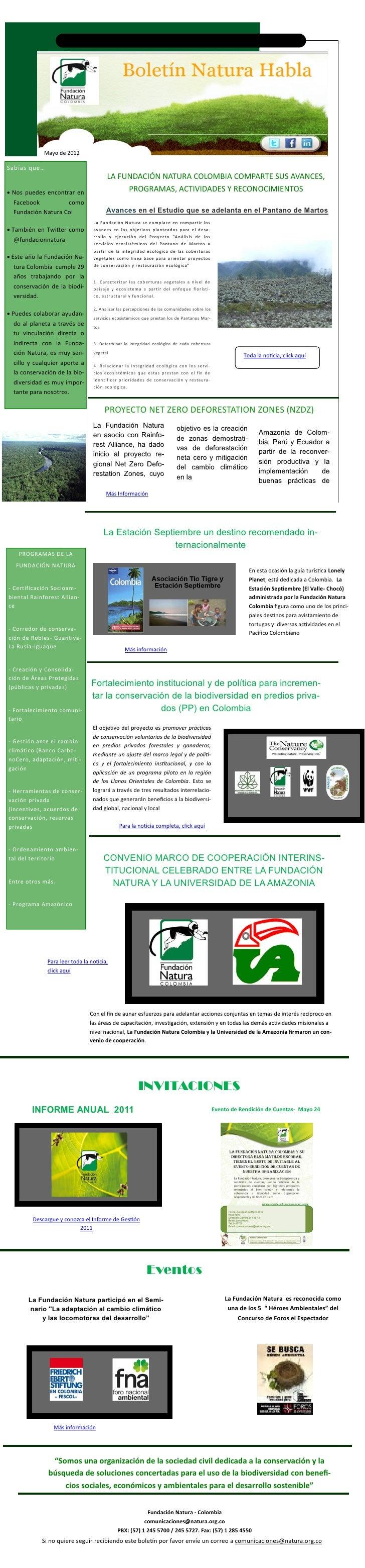 Fundacion Natura Colombia             Mayo de 2012Sabías que…                                         LA FUNDACIÓN NATURAM...