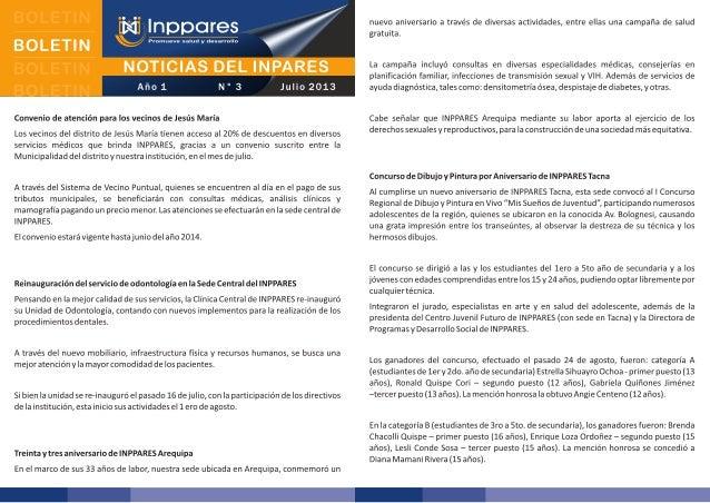 Boletín: Noticias del INPPARES - Julio 2013