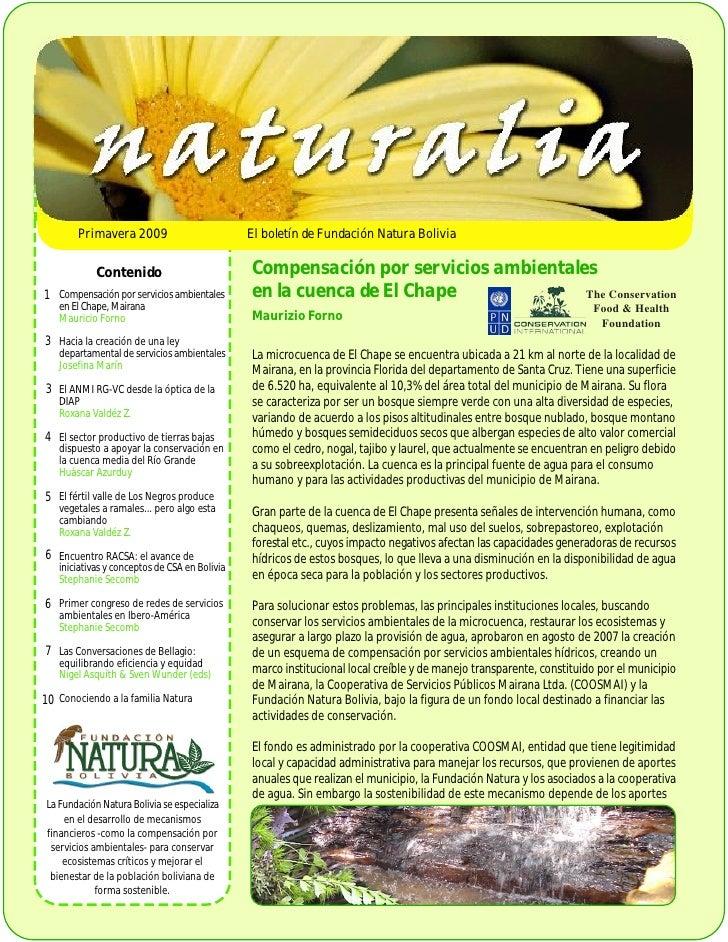 Primavera 2009                          El boletín de Fundación Natura Bolivia                Contenido                   ...