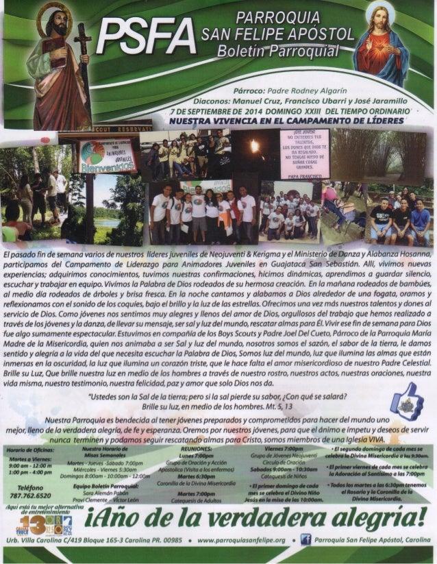 Boletín Parroquia San Felipe Apóstol | 7 de septiembre de 2014