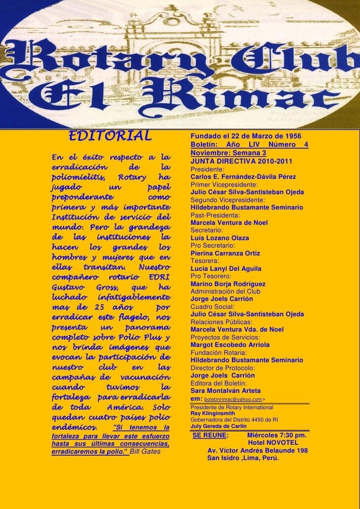 EDITORIAL                         Fundado el 22 de Marzo de 1956                                      Boletín: Año LIV Núm...