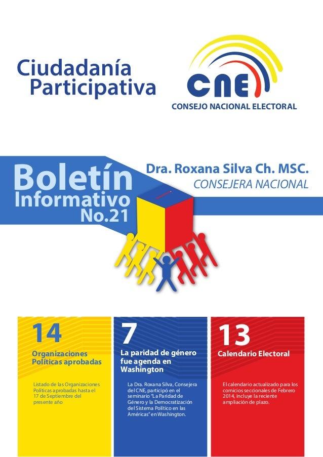 CONSEJO NACIONAL ELECTORAL  Boletín Informativo  Dra. Roxana Silva Ch. MSC.  CONSEJERA NACIONAL  No.21  14  Organizaciones...