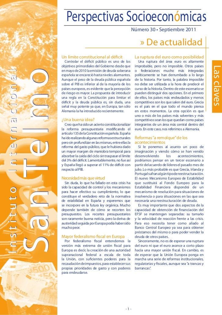 Perspectivas Socioeconómicas                  Número 30 • Septiembre 2011                                                 ...