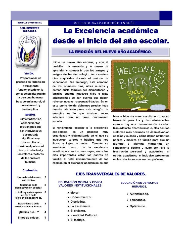 REVISTA DE VALORES #1                         COLEGIO SALVADOREÑO INGLÉS.                                 La Excelencia ac...