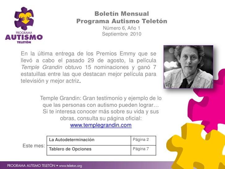 Boletín Mensual                         Programa Autismo Teletón                                    Número 6, Año 1       ...