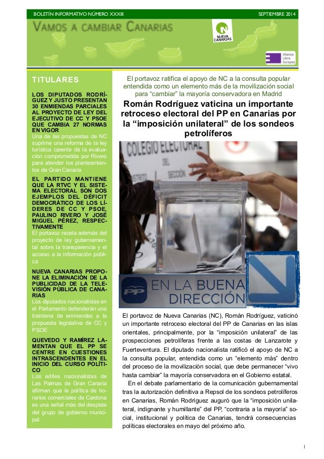 BOLETÍN INFORMATIVO NÚMERO XXXIII  SEPTIEMBRE 2014  1  El portavoz ratifica el apoyo de NC a la consulta popular  entendid...